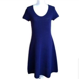 worth NY knit short sleeve fit & flare blue dress